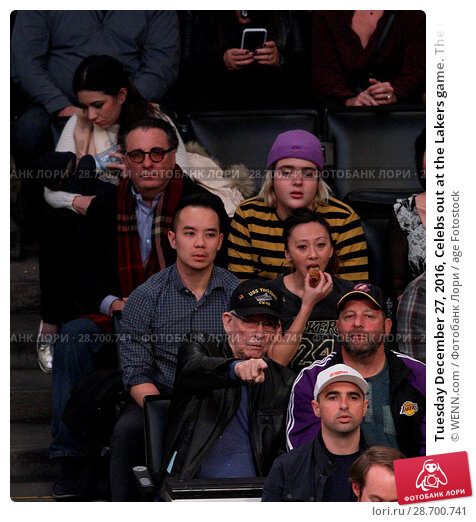 Купить «Tuesday December 27, 2016, Celebs out at the Lakers game. The Utah Jazz defeated the Los Angeles Lakers by the final score of 102-100 at Staples Center...», фото № 28700741, снято 27 декабря 2016 г. (c) age Fotostock / Фотобанк Лори