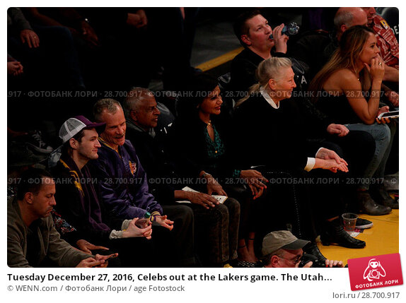 Купить «Tuesday December 27, 2016, Celebs out at the Lakers game. The Utah Jazz defeated the Los Angeles Lakers by the final score of 102-100 at Staples Center...», фото № 28700917, снято 27 декабря 2016 г. (c) age Fotostock / Фотобанк Лори
