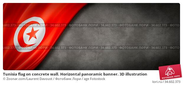 Tunisia flag on concrete wall. Horizontal panoramic banner. 3D illustration. Стоковое фото, фотограф Zoonar.com/Laurent Davoust / age Fotostock / Фотобанк Лори