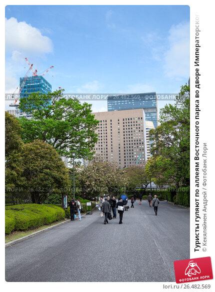 Купить «Туристы гуляют по аллеям Восточного парка во дворе Императорского дворца в Токио, Япония», фото № 26482569, снято 10 апреля 2013 г. (c) Кекяляйнен Андрей / Фотобанк Лори