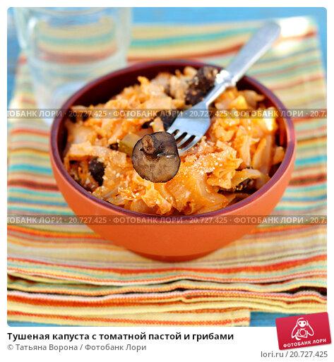 Купить «Тушеная капуста с томатной пастой и грибами», фото № 20727425, снято 28 августа 2013 г. (c) Татьяна Ворона / Фотобанк Лори