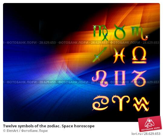 Купить «Twelve symbols of the zodiac. Space horoscope», иллюстрация № 28629653 (c) ElenArt / Фотобанк Лори