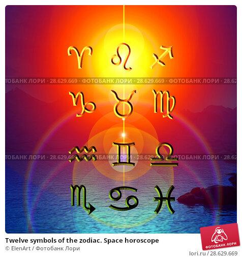 Купить «Twelve symbols of the zodiac. Space horoscope», иллюстрация № 28629669 (c) ElenArt / Фотобанк Лори