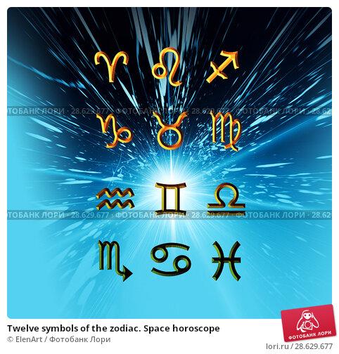 Купить «Twelve symbols of the zodiac. Space horoscope», иллюстрация № 28629677 (c) ElenArt / Фотобанк Лори