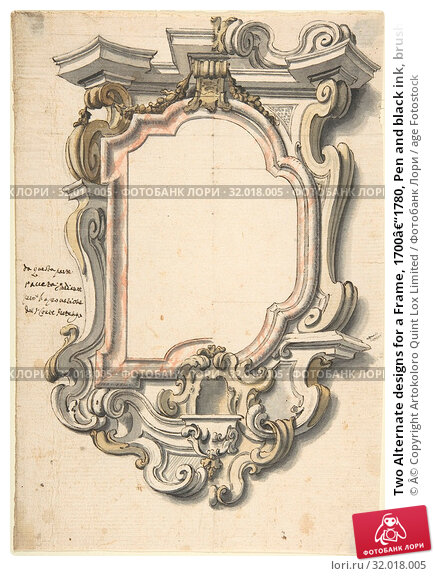 Купить «Two Alternate designs for a Frame, 1700–1780, Pen and black ink, brush and gray, yellow, and red wash over lead point, with ruled and compass construction...», фото № 32018005, снято 22 апреля 2017 г. (c) age Fotostock / Фотобанк Лори