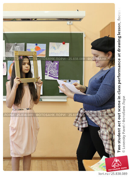 Купить «Two student act out scene in class performance at drawing lesson, focus on left girl», фото № 25838089, снято 20 марта 2015 г. (c) Losevsky Pavel / Фотобанк Лори