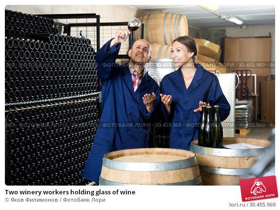 Two winery workers holding glass of wine. Стоковое фото, фотограф Яков Филимонов / Фотобанк Лори