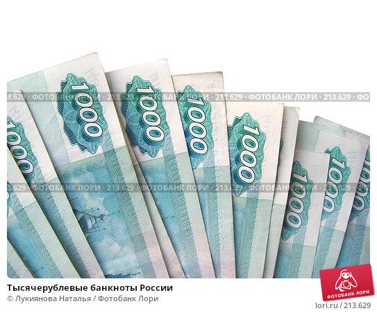 Тысячерублевые банкноты России, фото № 213629, снято 17 февраля 2008 г. (c) Лукиянова Наталья / Фотобанк Лори