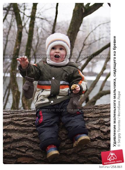Купить «Удивление маленького мальчика, сидящего на бревне», фото № 258861, снято 10 марта 2008 г. (c) Sergey Toronto / Фотобанк Лори
