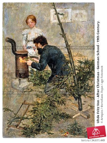Uhde Fritz Von - After Christmas - German School - 19th Century. Редакционное фото, фотограф Artepics / age Fotostock / Фотобанк Лори
