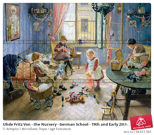 Uhde Fritz Von - the Nursery - German School - 19th and Early 20th... Редакционное фото, фотограф Artepics / age Fotostock / Фотобанк Лори