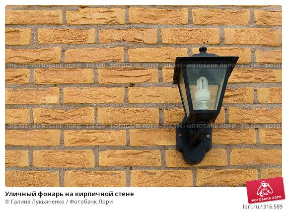 Уличный фонарь на кирпичной стене, фото № 316589, снято 11 мая 2008 г. (c) Галина Лукьяненко / Фотобанк Лори