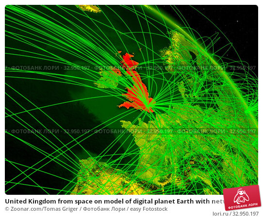 United Kingdom from space on model of digital planet Earth with network. Concept of digital technology, connectivity and travel. 3D illustration. Elements of this image furnished by NASA. Стоковое фото, фотограф Zoonar.com/Tomas Griger / easy Fotostock / Фотобанк Лори