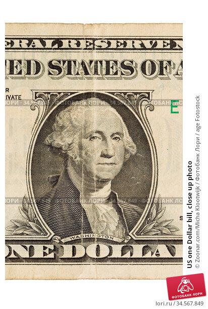 US one Dollar bill, close up photo. Стоковое фото, фотограф Zoonar.com/Micha Klootwijk / age Fotostock / Фотобанк Лори