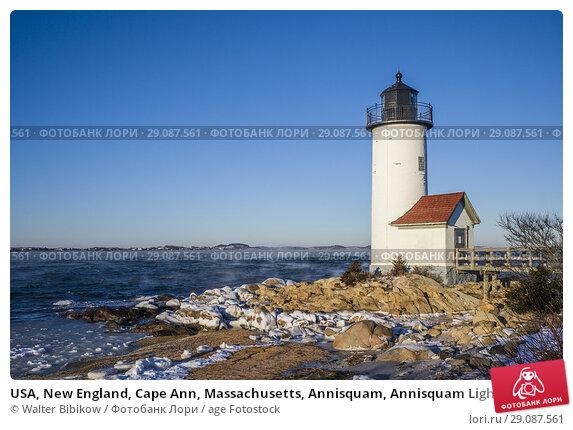 Купить «USA, New England, Cape Ann, Massachusetts, Annisquam, Annisquam Lighthouse, winter.», фото № 29087561, снято 2 января 2018 г. (c) age Fotostock / Фотобанк Лори