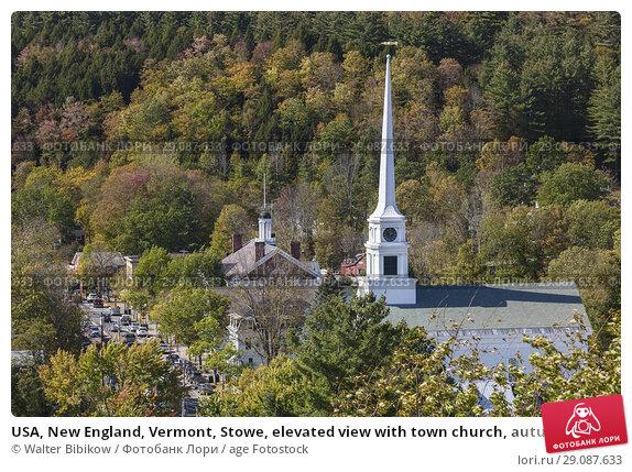 Купить «USA, New England, Vermont, Stowe, elevated view with town church, autumn.», фото № 29087633, снято 4 октября 2017 г. (c) age Fotostock / Фотобанк Лори