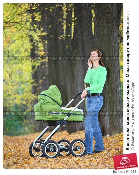 В осеннем парке: мама и малыш. Мама говорит по мобильному телефону, фото № 94053, снято 30 сентября 2007 г. (c) Владимир Мельник / Фотобанк Лори