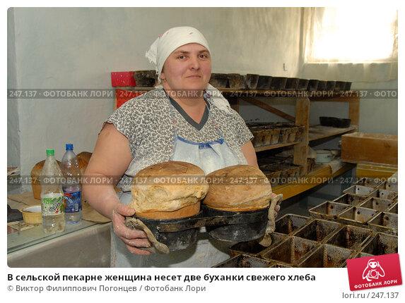 Купить «В сельской пекарне женщина несет две буханки свежего хлеба», фото № 247137, снято 6 апреля 2006 г. (c) Виктор Филиппович Погонцев / Фотобанк Лори