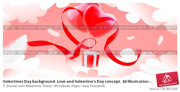 Valentines Day background. Love and Valentine's Day concept. 3d Illustration... Стоковое фото, фотограф Zoonar.com/Waldemar Thaut / easy Fotostock / Фотобанк Лори