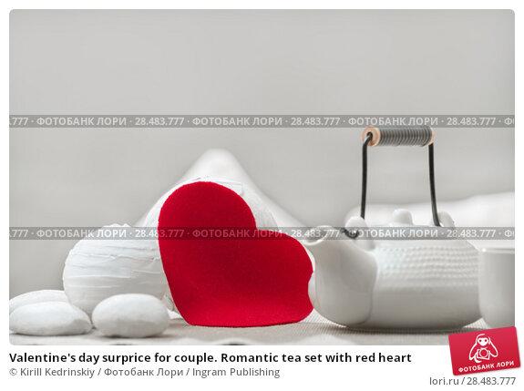 Купить «Valentine's day surprice for couple. Romantic tea set with red heart», фото № 28483777, снято 19 декабря 2012 г. (c) Ingram Publishing / Фотобанк Лори