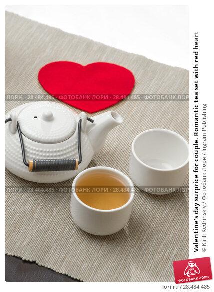 Купить «Valentine's day surprice for couple. Romantic tea set with red heart», фото № 28484485, снято 19 декабря 2012 г. (c) Ingram Publishing / Фотобанк Лори