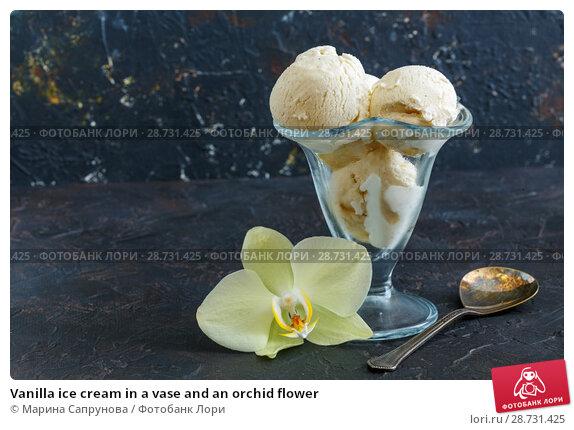 Купить «Vanilla ice cream in a vase and an orchid flower», фото № 28731425, снято 5 июля 2018 г. (c) Марина Сапрунова / Фотобанк Лори