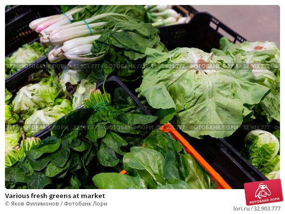 Various fresh greens at market. Стоковое фото, фотограф Яков Филимонов / Фотобанк Лори