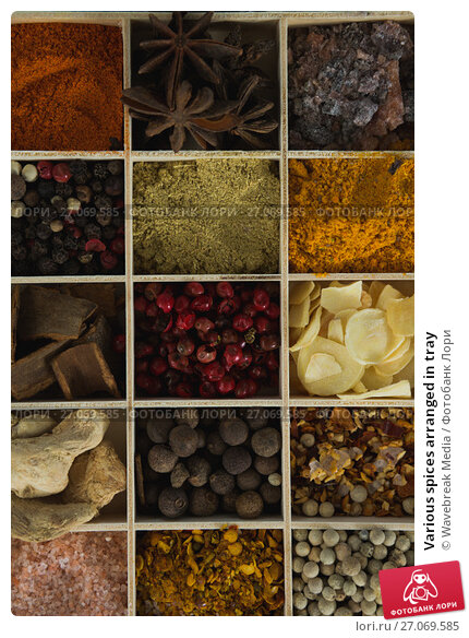 Various spices arranged in tray, фото № 27069585, снято 5 июня 2017 г. (c) Wavebreak Media / Фотобанк Лори