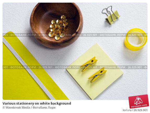 Купить «Various stationery on white background», фото № 26929901, снято 26 мая 2017 г. (c) Wavebreak Media / Фотобанк Лори