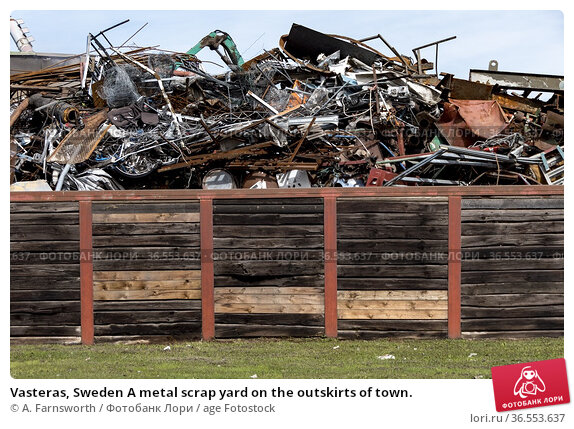 Vasteras, Sweden A metal scrap yard on the outskirts of town. Стоковое фото, фотограф A. Farnsworth / age Fotostock / Фотобанк Лори