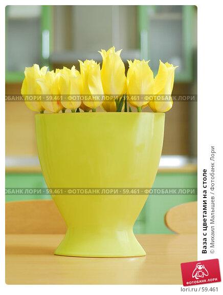 Ваза с цветами на столе, фото № 59461, снято 8 мая 2007 г. (c) Михаил Малышев / Фотобанк Лори