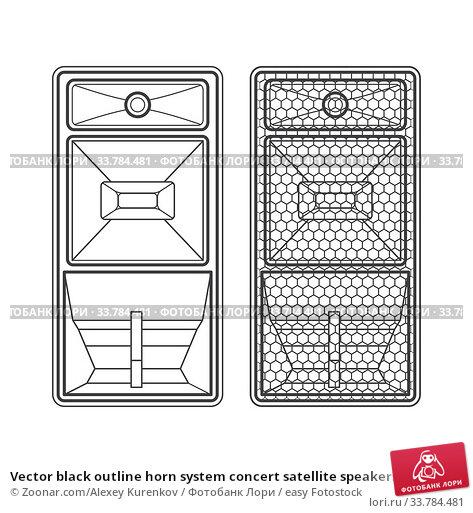 Купить «Vector black outline horn system concert satellite speakers with protection grid technical illustration», фото № 33784481, снято 5 июля 2020 г. (c) easy Fotostock / Фотобанк Лори