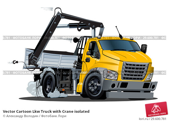 Купить «Vector Cartoon Lkw Truck with Crane isolated», иллюстрация № 29600781 (c) Александр Володин / Фотобанк Лори
