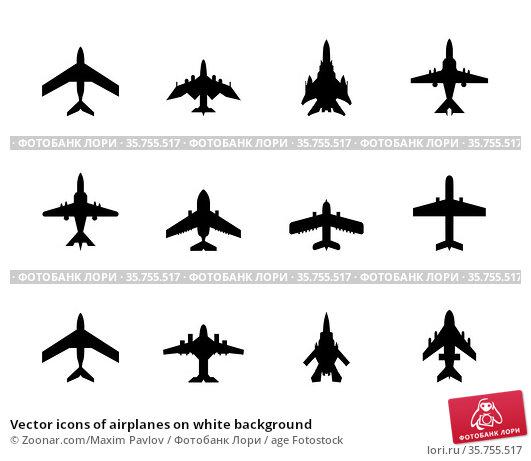Vector icons of airplanes on white background. Стоковое фото, фотограф Zoonar.com/Maxim Pavlov / age Fotostock / Фотобанк Лори