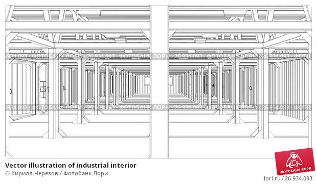 Vector illustration of industrial interior, иллюстрация № 26934093 (c) Кирилл Черезов / Фотобанк Лори