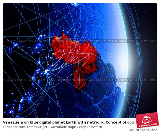 Venezuela on blue digital planet Earth with network. Concept of connectivity, travel and communication. 3D illustration. Elements of this image furnished by NASA. Стоковое фото, фотограф Zoonar.com/Tomas Griger / easy Fotostock / Фотобанк Лори