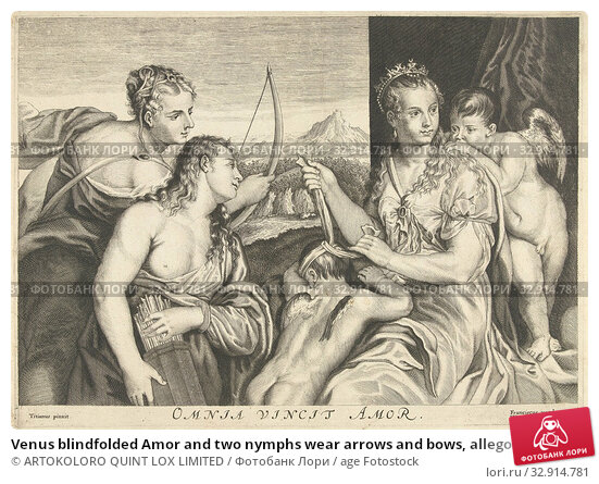 Venus blindfolded Amor and two nymphs wear arrows and bows, allegory of love that overcomes everything Omnia vincit Amor (title on object), Allegory of... Редакционное фото, фотограф ARTOKOLORO QUINT LOX LIMITED / age Fotostock / Фотобанк Лори