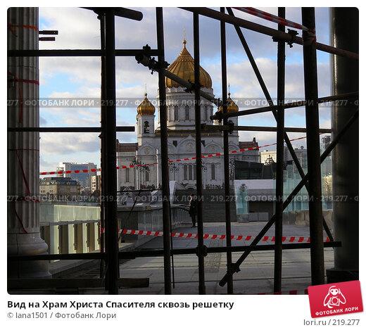 Вид на Храм Христа Спасителя сквозь решетку, эксклюзивное фото № 219277, снято 26 февраля 2008 г. (c) lana1501 / Фотобанк Лори