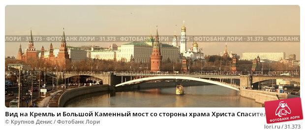 Вид на Кремль и Большой Каменный мост со стороны храма Христа Спасителя, фото № 31373, снято 21 января 2017 г. (c) Крупнов Денис / Фотобанк Лори