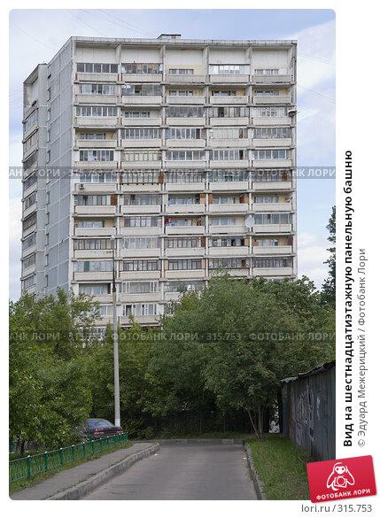 Купить «Вид на шестнадцатиэтажную панельную башню», фото № 315753, снято 31 мая 2008 г. (c) Эдуард Межерицкий / Фотобанк Лори