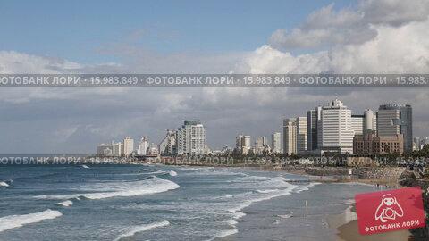 Вид на Тель-Авив со стороны старого Яффо, видеоролик № 15983849, снято 30 ноября 2015 г. (c) Наталья Волкова / Фотобанк Лори