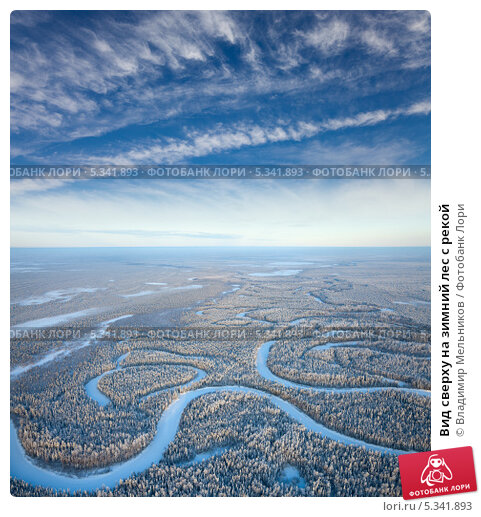 Вид сверху на зимний лес с рекой, фото № 5341893, снято 20 января 2012 г. (c) Владимир Мельников / Фотобанк Лори