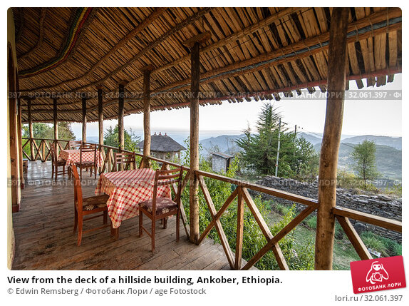 View from the deck of a hillside building, Ankober, Ethiopia. (2019 год). Редакционное фото, фотограф Edwin Remsberg / age Fotostock / Фотобанк Лори