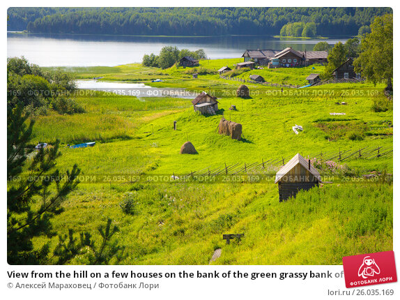 Купить «View from the hill on a few houses on the bank of the green grassy bank of river and the forest in the background in summer in Kenozersky National Park, Arkhangelsk region, Russia», фото № 26035169, снято 11 августа 2015 г. (c) Алексей Мараховец / Фотобанк Лори