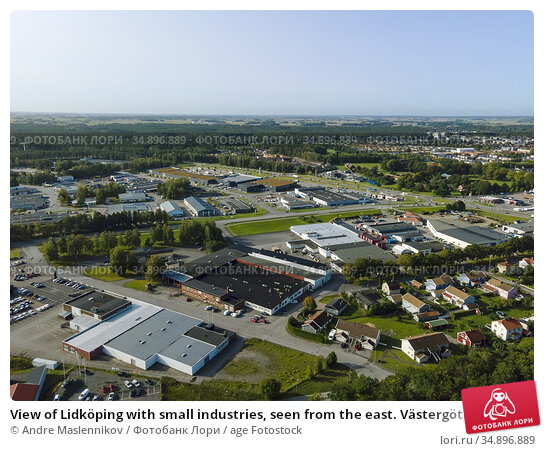 View of Lidköping with small industries, seen from the east. Västergötland... Стоковое фото, фотограф Andre Maslennikov / age Fotostock / Фотобанк Лори
