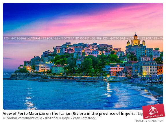View of Porto Maurizio on the Italian Riviera in the province of Imperia, Liguria, Italy. Стоковое фото, фотограф Zoonar.com/monticello / easy Fotostock / Фотобанк Лори
