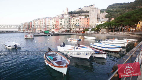 Купить «View of Portovenere small colorful town with Doria Castle on Ligurian coast of Italy», видеоролик № 27383757, снято 5 декабря 2017 г. (c) Яков Филимонов / Фотобанк Лори