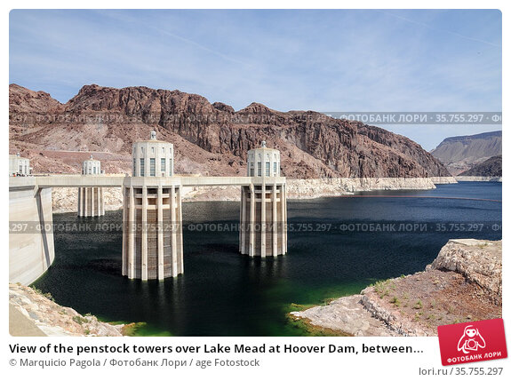 View of the penstock towers over Lake Mead at Hoover Dam, between... Стоковое фото, фотограф Marquicio Pagola / age Fotostock / Фотобанк Лори