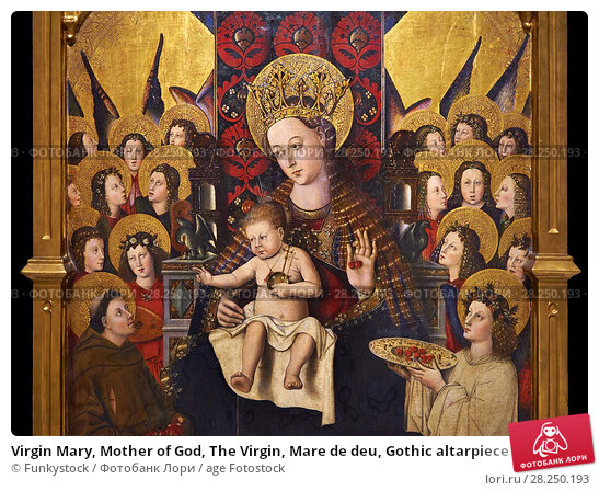 Купить «Virgin Mary, Mother of God, The Virgin, Mare de deu, Gothic altarpiece of Madonna and Child by Joan Reixach of Barcelona, circa 1450, tempera and gold...», фото № 28250193, снято 1 февраля 2017 г. (c) age Fotostock / Фотобанк Лори
