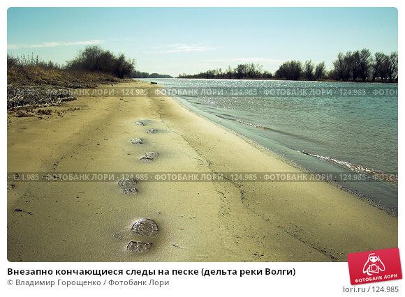 Внезапно кончающиеся следы на песке (дельта реки Волги), фото № 124985, снято 28 марта 2006 г. (c) Владимир Горощенко / Фотобанк Лори